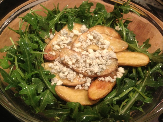 Roasted Potato Salad with Blue Cheese and Arugula