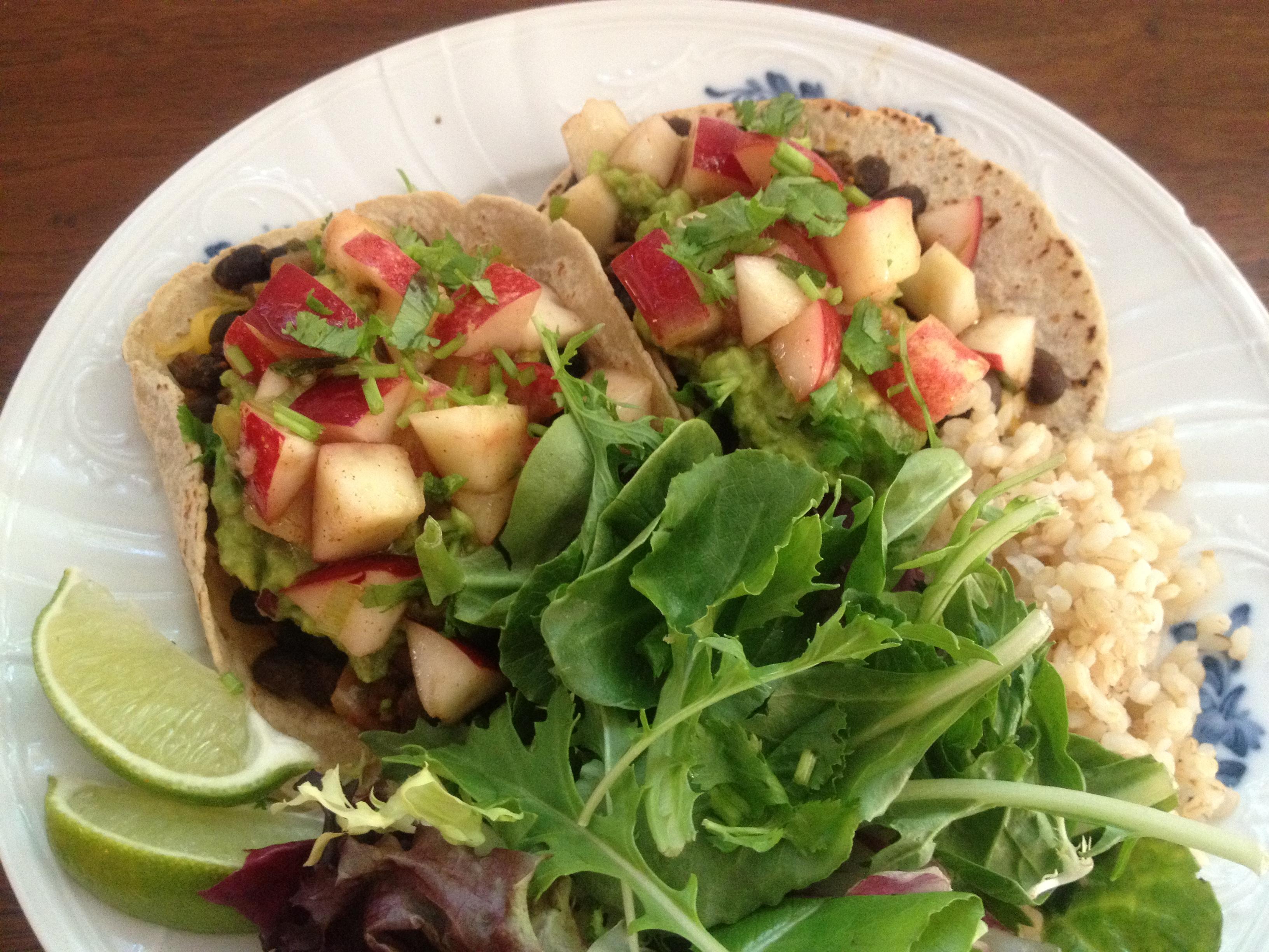 Nectarine Salsa on Black Bean Tacos