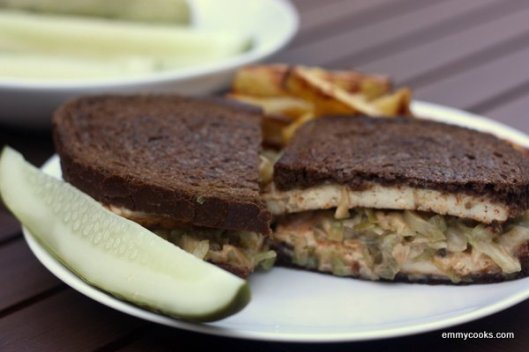 Tofu Reuben with Pickles and Fries from emmycooks.com