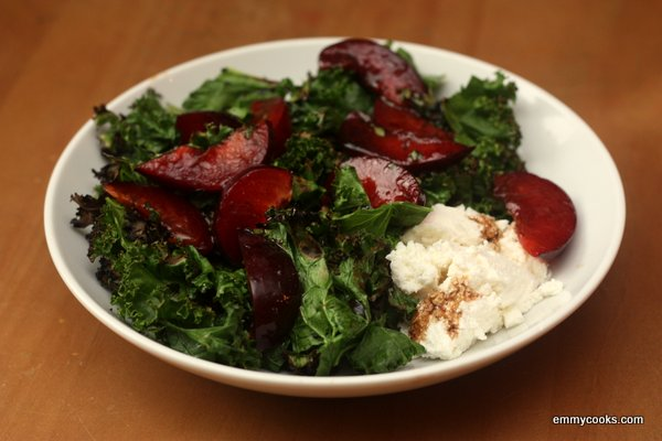 Grilled Kale Salad with Ricotta and Plums | Emmy Cooks