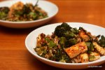 Roasted Broccoli and Tofu Rice Bowl with Harissa