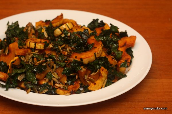 Kale Salad with Miso-Roasted Winter Squash | Emmy Cooks