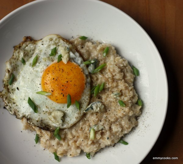 Savory Oatmeal with Blue Cheese and an Olive Oil Fried Egg