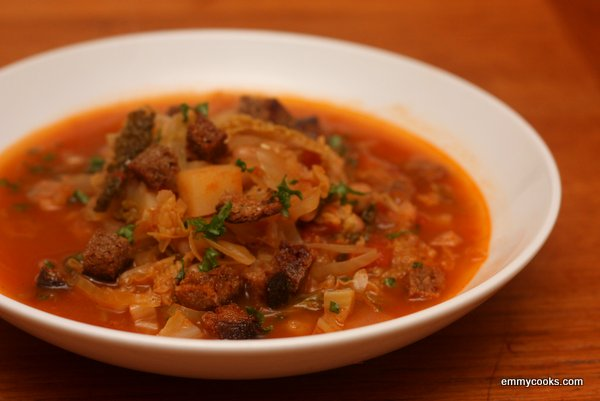Cabbage Soup with Sauerkraut and White Beans