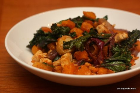 Roasted Squash Salad with Tofu and Crispy Kale
