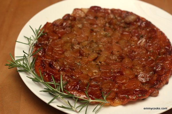 Skillet Roasted Grape Tarte Tatin with Rosemary