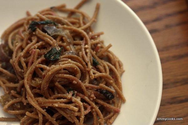 Pasta with Greens, Caramelized Onions, and Creamy Walnut Sauce