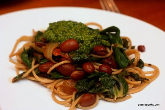 Pasta with Beans, Greens, and Pesto