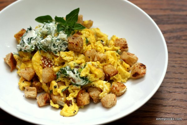 Weekend Scrambled Eggs with Croutons and Herbed Cream Cheese